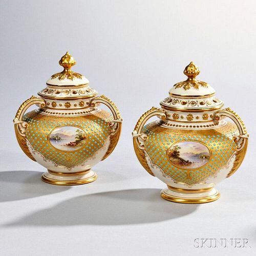 Pair of Jeweled Coalport Porcelain Potpourri Vases and Covers