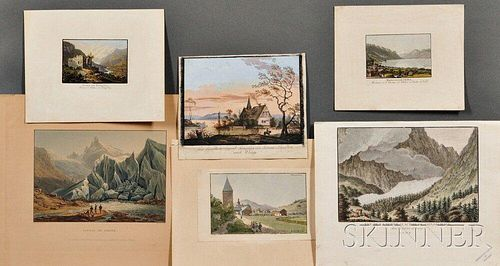 Continental School, 18th/19th Century, Six Works on Paper of European Landscapes, including five engravings and etchings by various art
