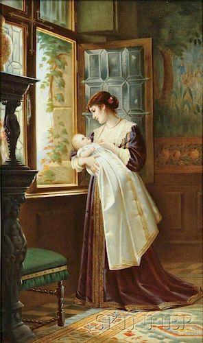 KPM Porcelain Plaque Depicting a Woman and Child