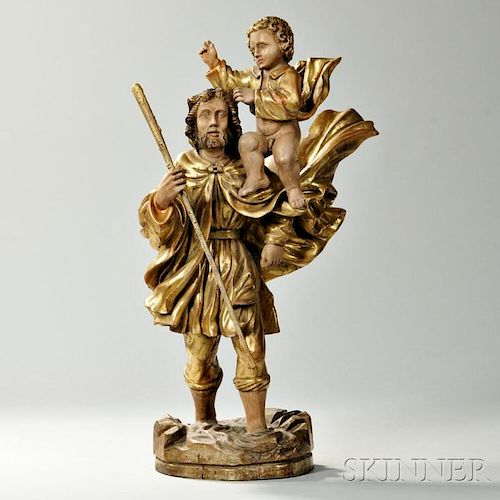 Continental Carved Giltwood Biblical Figural Group