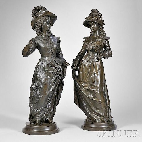Ernest Rancoulet (French, 1870-1915)       Pair of Bronze Figures of Victorian Women