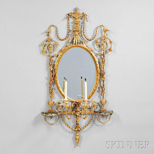 George III Giltwood and Composite Mirror with Two-light Armature