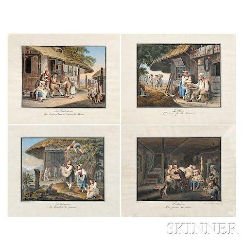 Franz Niklaus König (Swiss, 1765-1832), Four Hand-colored Engravings: Le Printems (Les chanteurs dans le Canton de Berne), LEte (Lheu