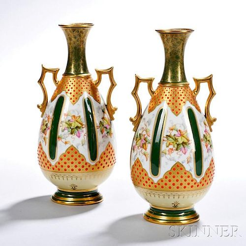 Pair of Jeweled Coalport Porcelain Vases