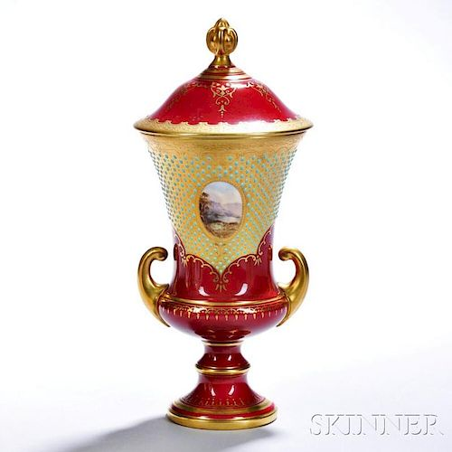 Jeweled Coalport Porcelain Ruby Red Ground Vase and Cover