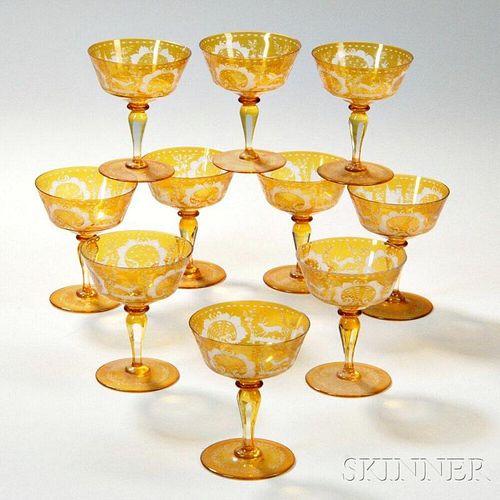 Ten Bohemian Amber Glass Sherbets