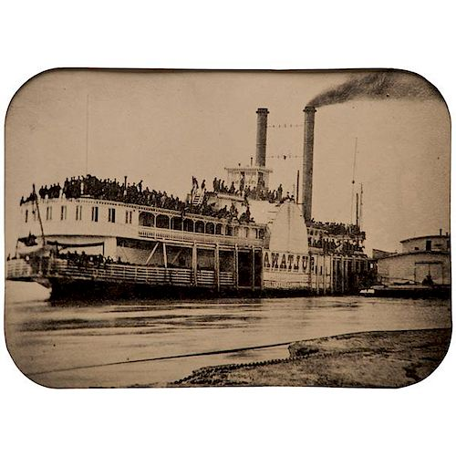 Rare Whole Plate Tintype of the Ill-Fated Civil War Steamer Sultana