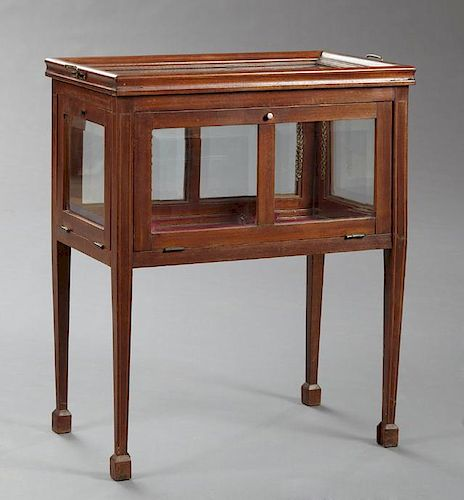 Edwardian Carved Inlaid Mahogany Glazed Chocolate