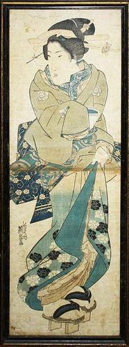 "19th c Japanese ukiyo-e woodblock print signed Keisai Eisen (1790- 1848), 2 sheet, 28"" x 9.5"" 19th c"