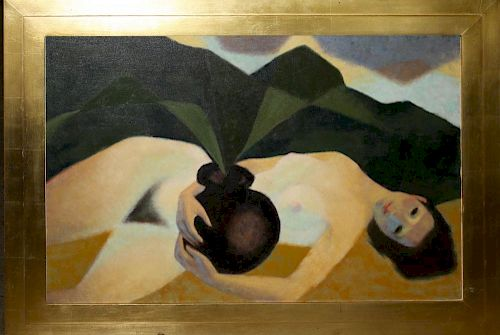 """Chas Dodge (American 20th ) Reclining nude o/c  27 x 40"""" unsigned"""