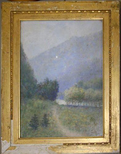 Attr. George Hand Wright (American 1872-1951) pastel landscape on board monogrammed GHW on board 14