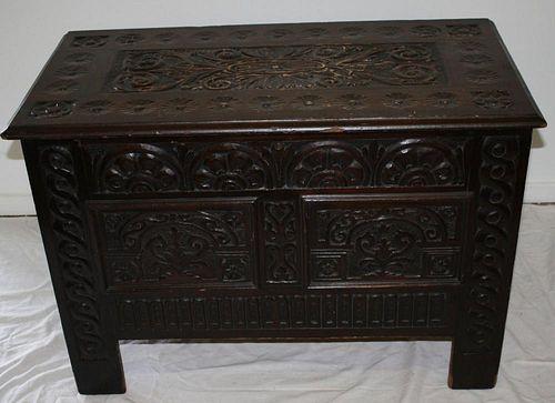 "17th c style carved cedar chest marked C.H. Allen Fecit 1914. From Salem. 38""w x 27""h x 19""d."