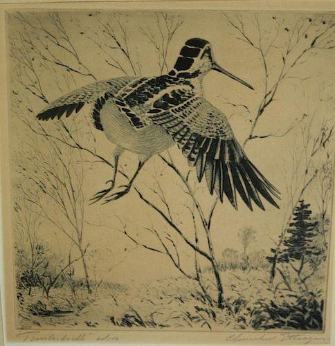 "Churchill Ettinger (Vermont 1903-1984) "" Tinkerdoodle"" Flying snipe 8x8""signed lower right"