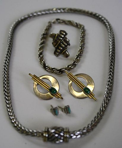 Lot of gold on sterling jewelry incl 2 chains, pr earrings, pr earrings with oval malachite stars &