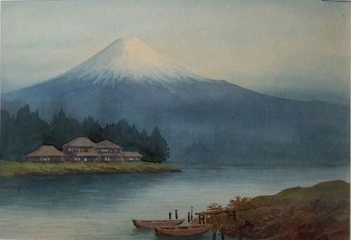 20th c Japanese school wc of Mt Fuji with lake signed Keiko