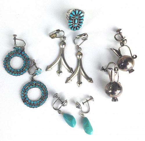 4 pairs of SW Navajo silver earrings & ring w/ turquoise stone
