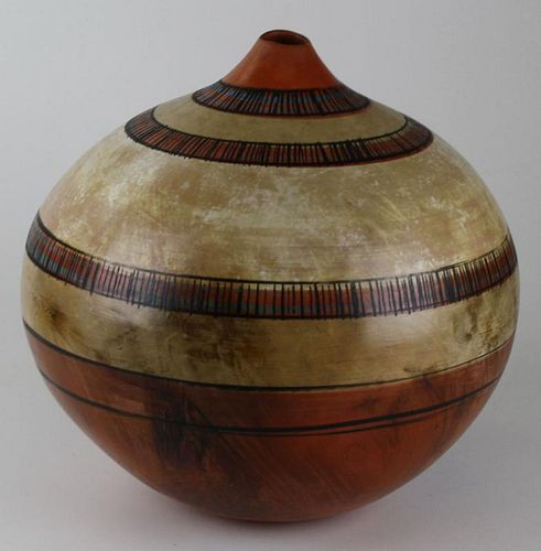 "Contemporary Native American style pottery vase, dia 14"" ht 13'"