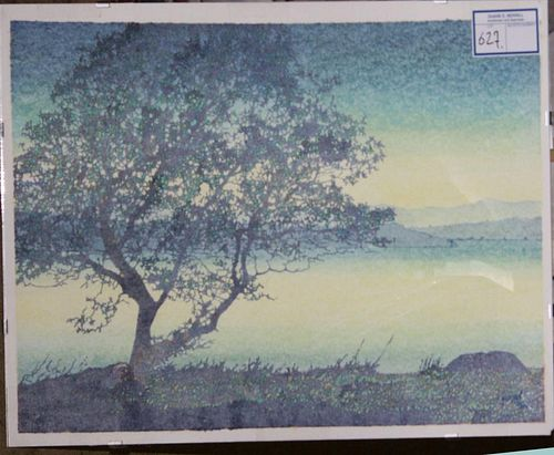 """20th c American school lithograph of Tree on a Lake signed Yariman 1988 12 x 20"""""""