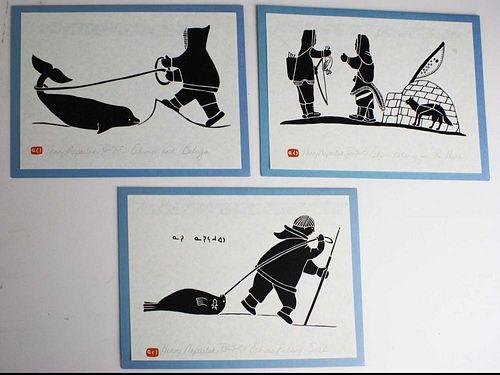 "3 Inuit prints by Henri Napartuk (Canadian Inuit 1932- 1985), 6.5"" x 9.5"" mtd on cards w/ letterhead"