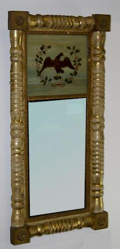 """Sheraton split panel mirror with replaced reverse painted glass panel """"Liberty"""" with eagle, 31.5"""" x"""