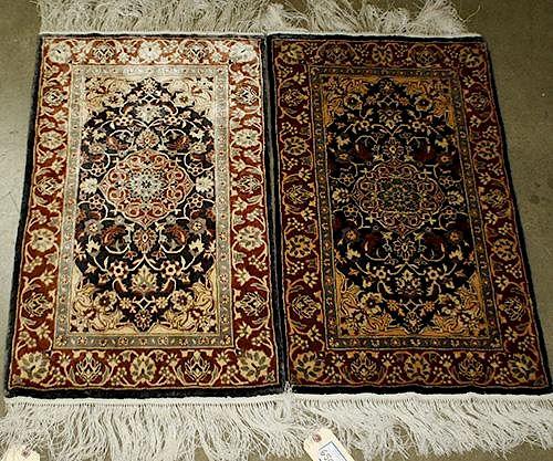 "pr of Contemporary Persian Oriental silk area rugs, 1' 6"" x 2' 8"" each"