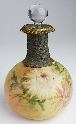 "Mount Washington type handpainted Victorian glass dresser bottle w/replaced stopper 7"" x 4.5"""