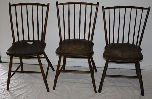 3 matching rod-back Windsor side chairs