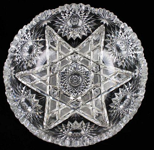 "American Brilliant Period Cut Glass  bowl 4"" x 9"""