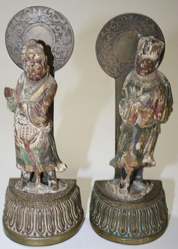pr of early 18th c Chinese Qing-Lung carved wooden figures mounted in brass as bookends, ht 5.5', ov