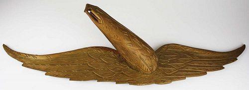 "carved wooden eagle, wing break glued, wingspan 38"""