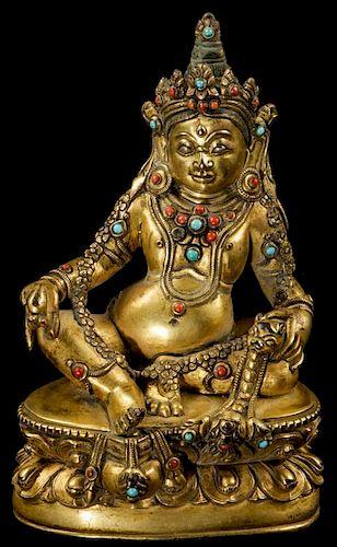 Antique Sino-Tibetan Bronze Jeweled Buddha