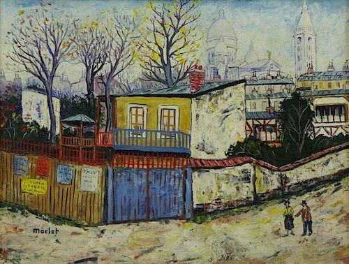 MACLET, Elisee. Oil on Canvas. Paris Street Scene.