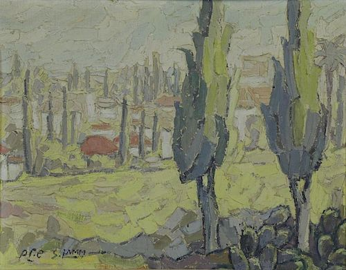 "LAMM, Shmuel. Oil on Canvas. ""Ramat Gan""."
