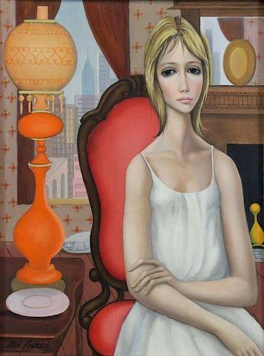 """KEANE, Margaret. Oil on Canvas. """"Yesterday""""."""