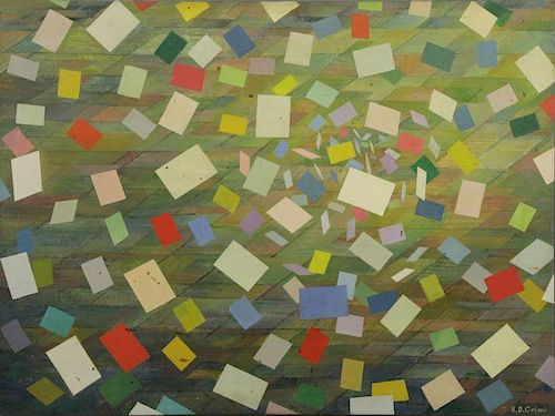 CRIMI, Alfred D. Oil on Canvas. Geometric Abstract