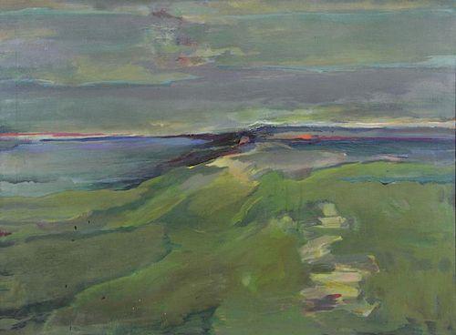 """WIESEN, Trude. Oil on Canvas """"Inlet""""."""