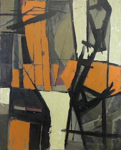 """WATSON, J.B. Oil on Canvas """"Cantilever"""" 1958."""