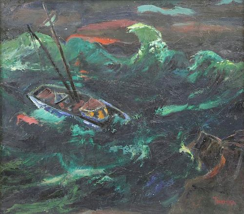 "TROMKA, Abram. Oil on Masonite ""Storm off"