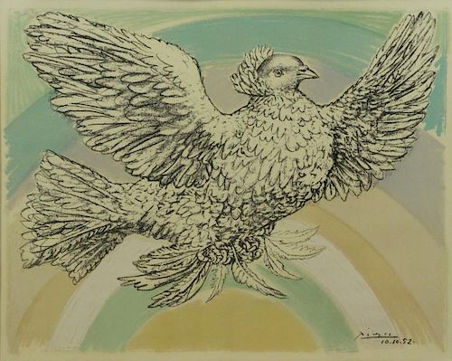 "After Picasso. Lithograph ""Dove"" with Rainbow."
