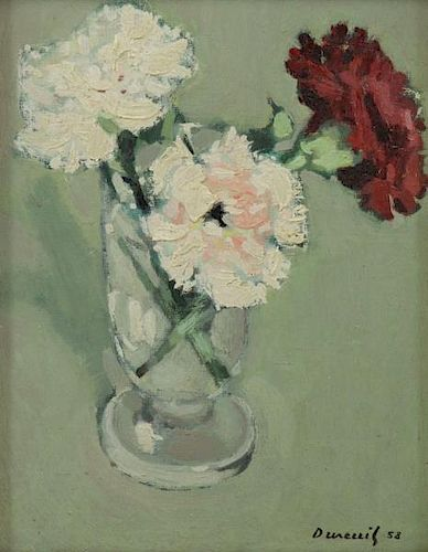 DUREUIL, Michel. Oil on Board. Flowers in a Vase.