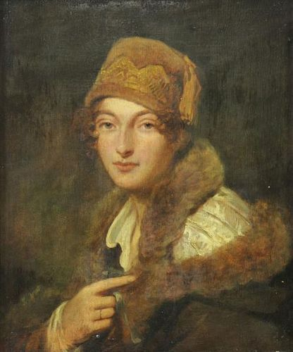 Attributed to George Romney. Oil on Panel Portrait