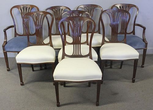 Set of 8 Antique Hepplewhite Style Dining Chairs.