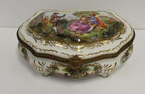 SEVRES. Large Decorated Porcelain Vanity Box.