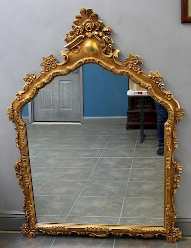 Carved and Giltwood over Mantel Mirror.