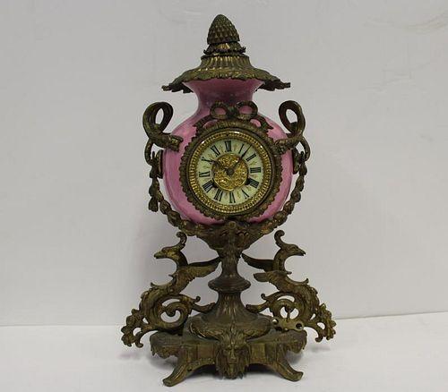 Antique Bronze and Porcelain Clock.