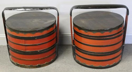 Pair of Asian Lacquered Handled Containers.
