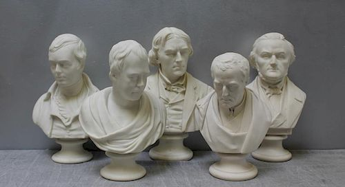 Group of 5 Antique Parian Busts.