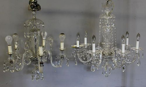 Lot of 2 Crystal Hall Chandeliers.