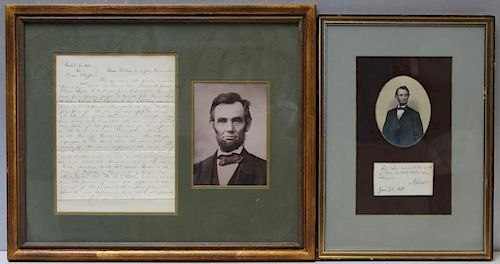 (Autographs) Abraham Lincoln. 2 Items.