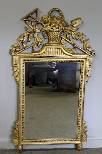 Quality Antique French Giltwood Mirror.